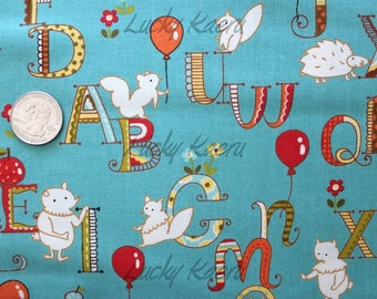 Keiki, Mind Your P's & Q's, ABC Alphabet Critters Turquoise Fabric - REMNANT Size 27 Inches by 44 Inches