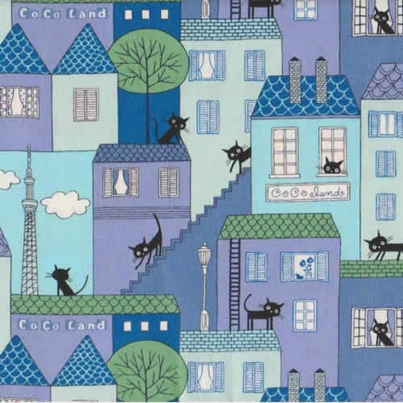 Coco Land Cute Black Cats Blue Purple Buildings Japanese Fabric - Half Yard