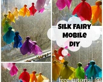 Rainbow Fairy Mobile: Silk Waldorf DIY Kit for Nursery or Playroom, All Natural