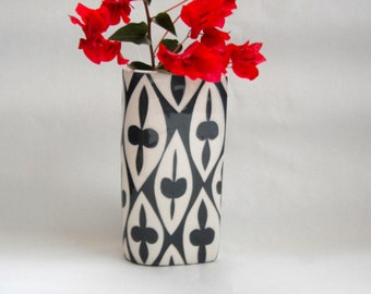 Hand made ceramic vase charcoal grey