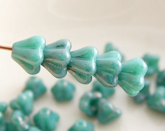 Czech Baby Bell Flower Beads 6x4mm Luster Opaque Turquoise (20 pk) SI-6x4F-LOT