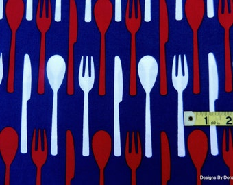 One Yard Cut Quilt Fabric, Flatware,  Red & White Forks, Knives, Spoons on Navy Blue from Timeless Treasures, Sewing-Quilting-Craft Supplies