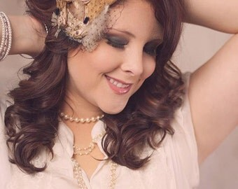 Decades 1930s The Gabby Headband Veil Gold and Black Silk and Crystal