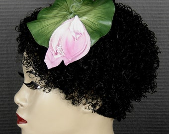 Vintage Millinery Pink Flower On A Lily Leaf Fascinator Headpiece
