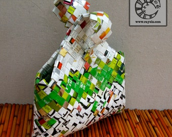 """Recycled Dog Food Bag: """"Sweet Pea"""",  Wearable Art, Candywrapper Technique"""