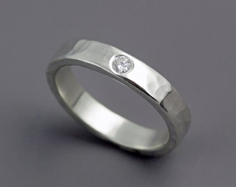 White Gold Diamond Wedding Ring - Hammered Band - White Diamond - Hammer Texture - 14k White Gold - Made to Order
