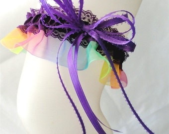 Rainbow Pride Garter-Satin and Lace -Gay Pride Garter-Customize your colors