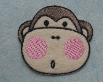 Monkey Iron On Patch / Applique 60x55mm (2.5x2.15 inches) - Code PC084