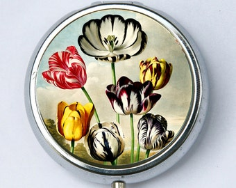 Tulips Flowers PILL CASE pillbox holder botanical
