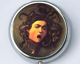 Caravaggio Medusa Pill case pillbox box holder fine art painting snakes