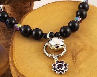 Amethyst purple and Black Pearl Le Chat Chic Swarovski crystal luxe kitty collar with strong magnetic clasp