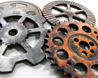 Big Gears - Collection of 4 Old and Dirty Wooden Gears