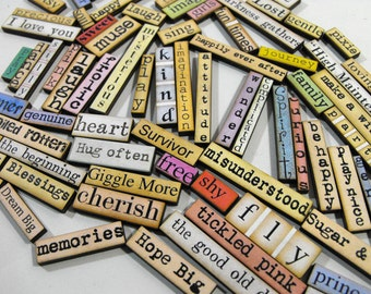 Wood Word Cuts - Collection of 80 Pieces - Small Laser Cut Art Parts