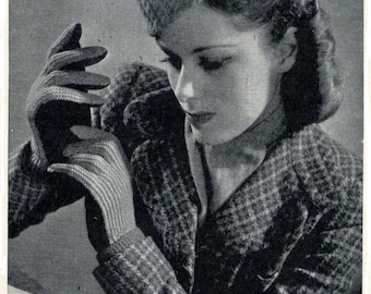 Cable Hat and Gloves 1940s Vintage Knitting Pattern Instant download pdf
