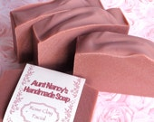 Unscented Rose Clay Facial and Bath Soap - Unscented Pink Soap, Mild Gentle For Your Face - Great Soap for Younger Skin