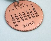 Special Day - Calendar Key Ring - Hand Stamped Copper Calendar Keychain