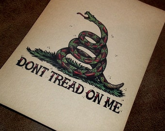 Don't Tread on Me Snake Traditional Tattoo Style Art Portrait Print 5x7 By Agorables Old School American Patriotic