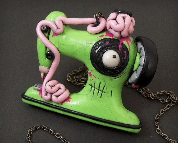 Zombie Sewing Machine Necklace in green and pink