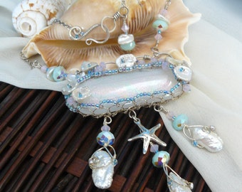 Mermaid Necklace ~ Dichroic Glass Necklace ~ Ocean Necklace ~ Wire Wrapped Necklace ~ Starfish Necklace ~ Themed Wedding Necklace