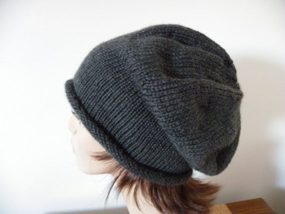 Knit Souchy Hat in Charcoal Gray