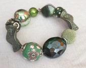 Forest Green Beaded stretch bracelet- St. Patrick's