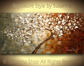 ORIGINAL Large Abstract Contemporary White Tree Cherry Blossom Oil Painting Palette Knife Thick Texture by Susanna Ready to Hang 48x24