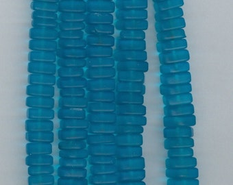 8mm Aqua Blue Sea Glass Flat Square Spacer Beads Blue Bead Spacers