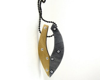 Oxidized Steel and Oxidized Brass Riveted Pendant Necklace - Cadence