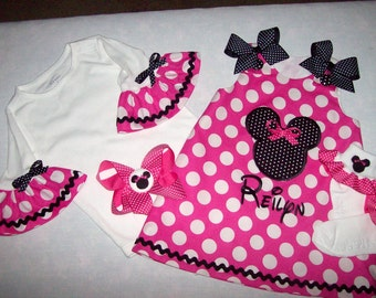 Hot Pink Dot Minnie Applique Monogram A-line Dress + Ruffled Sleeve T-shirt  + Socks +  Hair Bow - Minnie Mouse birthday party outfit