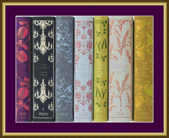 Book Cover Pattern Uk : Classic book spines counted cross stitch pattern