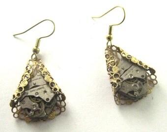 FiligreeTime, Steampunk Earrings, Steampunk Filigree Earrings, Watch Part Earrings, Steampunk Victorian Watch Part earrings