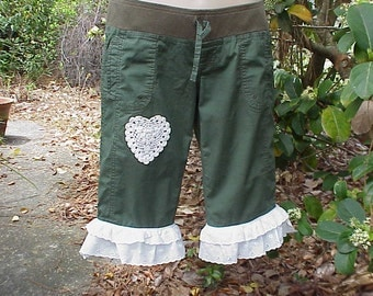 Upcycled Recyc;ed Embellished Womens Steampunk Pantaloons sz small