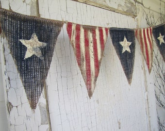 FlaSH SaLe! Size MED. Primitive Olde American Flag, Patriotic, July 4th, Old Glory, USA, Painted Burlap Banner, Flag, Bunting, Pennant
