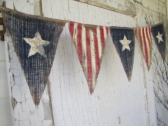 Size Med Primitive Olde American Flag Patriotic By