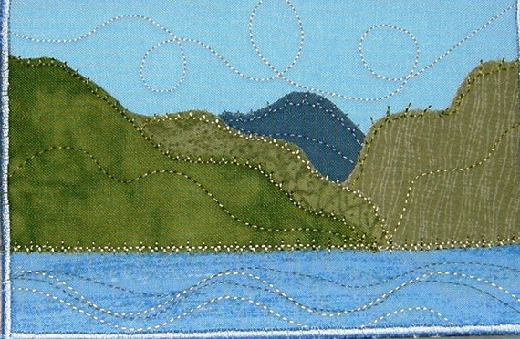 Handmade Quilted Postcard Art, Fabric Postcard, Mountain Lake Greeting Card