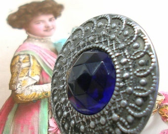 1890s Antique BUTTON ring, Victorian blue glass & metal on adjustable sterling band. Antique button jewelry, jewellery.