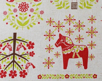 Cute little birds and horses - Japanese fabric - Red