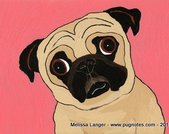 Fawn Pug Note Cards - 2 Designs - Pretty in Pink & Pug Bliss - Set A83, A81