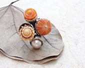 Orange Sea Urchin Ring Shell Coral Pearl Sea Urchin - StaroftheEast
