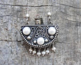 Ethnic Tribal Necklace - Secret Hiding Place, Vintage Bottle, Pearls