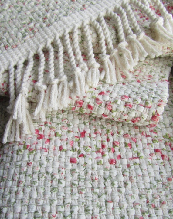 Handwoven Table Runner - Cottage Chic Rag Weave Table Runner -  Soft White, Rose Pink and Green -  7.25in wide x 52in long