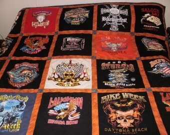 Harley t-shirt quilt custom made for Amy
