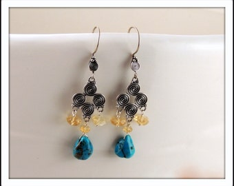 Turquoise and Faceted Citrine Chandelier Earrings