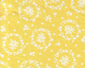 CLEARANCE  1/2 Yard - LECIEN - Flower Sugar White Flower Wreath Circles on Yellow - Japanese Import Fabric
