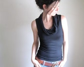 Black Cowl Neck Tank  - Drape Blouse - Sleeveless Shirt - Modal Top - Tee - Made to Order