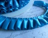 Turquoise  Blue Satin Box Pleat  Ruffle Trim 7/8 inch