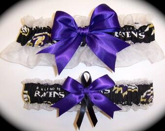 Baltimore Ravens Wedding Garter Set    Handmade    Keepsake and Toss Bridal pb1