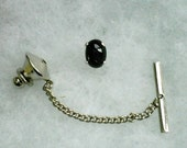 Black Star Diopside 8x6mm Cabochon Gemstone in 925 Sterling Silver Tie Tack