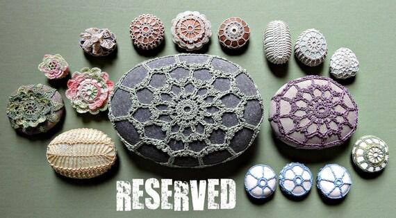 RESERVED   Mixed Media, Decorative Arts, Crochet Lace Stone, Original, Handmade, Home Decor, Wedding, Pale Yellow Thread