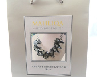 Wire Spiral Necklace Knitting Kit - Black
